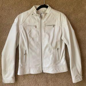 White Genuine Leather Italian Jacket, Vera Pelle